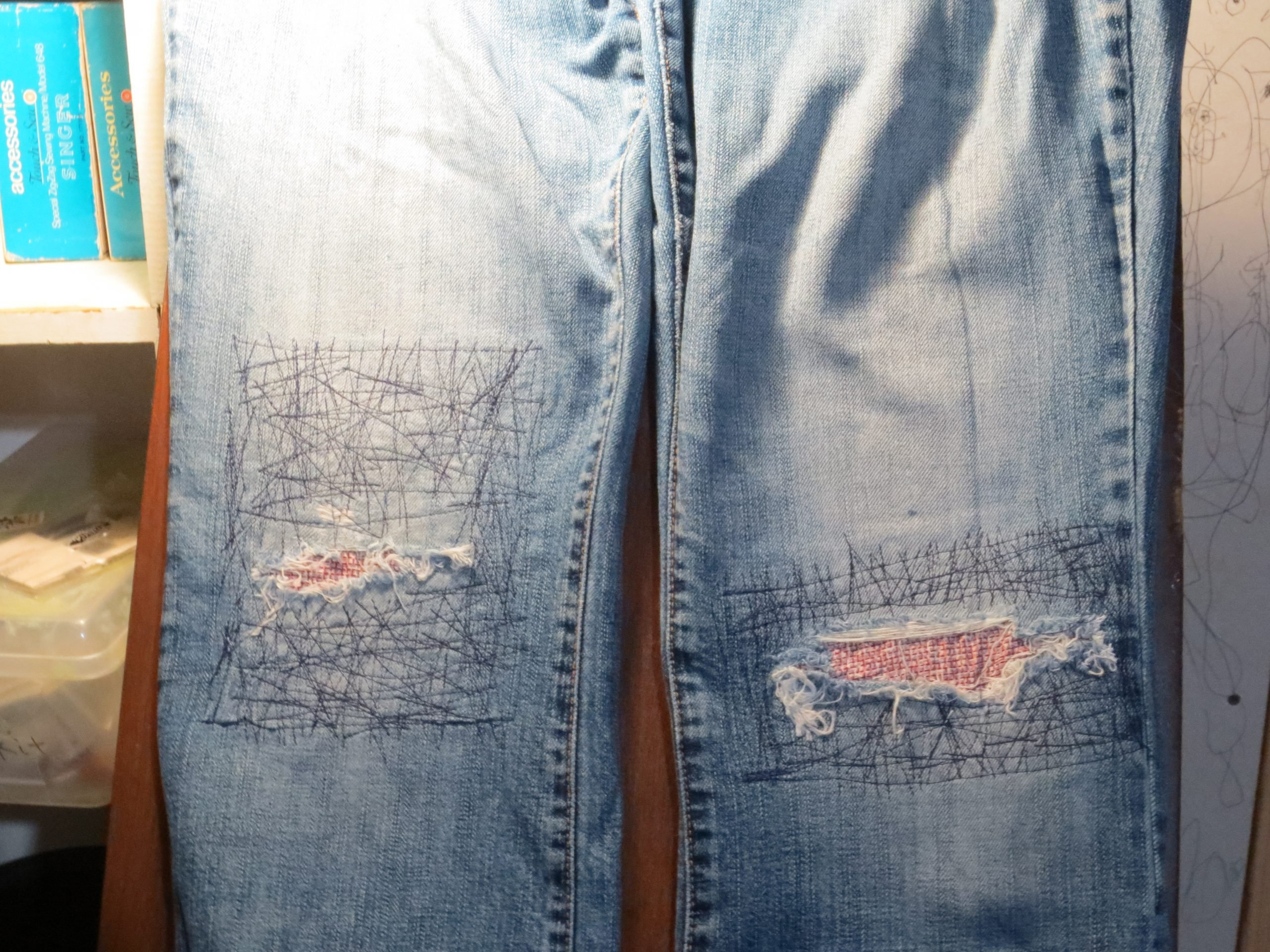 Another way to patch denim jeans